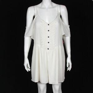 New Xhileration White Cold Shoulder Boho Gauze Lace Romper Jumpsuit XL NWT /5712