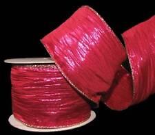 "10 Yards Crinkle Metallic Pink Gold Edge Wired Ribbon 2 1/2""W"