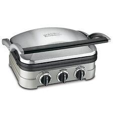 Cuisinart Griddle Contact Grill Panini Press Non Stick Plates 1600W Silver New