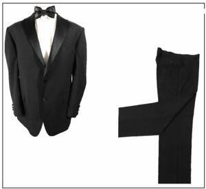 "M&S Washable Mens Black Dinner Tuxedo suit Ch48""R W42"" L33"" Prom Ball Wedding"