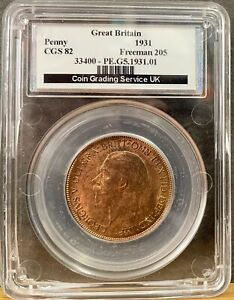 CGS 82 Graded 1931 Great Britain Penny - George V