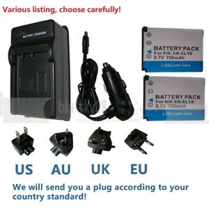 Battery or charger for Nikon EN-EL19 Coolpix S6400 S6500 S6600 S6700 S6800 S6900