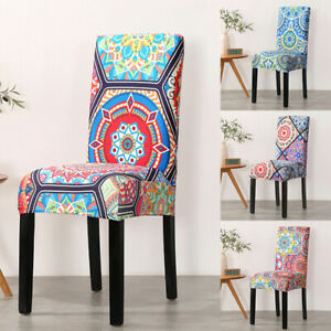 Boho Floral Stretch Chair Cover Dining Room Party Banquet Seat Protect Slipcover