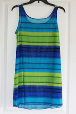 Sheer Striped Swim Coverup Blues/Green, Cool Mesh material, Size S/M. EC!