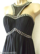 NEW £65 *SALE* JANE NORMAN SIZE 10, SILVER STUDDED HIGH NECK BLACK MAXI DRESS