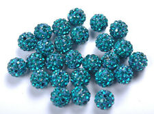 10 Peacock Blue Crystal Rhinestones Pave Clay Round Disco Ball Spacer Beads 10MM