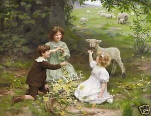 VICTORIAN ELSLEY SHEEP LAMB CHILDREN *CANVAS* ART PRINT