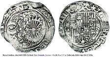 REYES CATÓLICOS-1469/1505. Un Real. Plata. Granada. Anverso = G y R. Peso 3,37 g