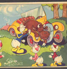 DISNEY BULL WRECKS DONALD DUCK'S CAR,VINTAGE POSTCARD