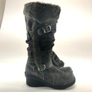 Baretraps Womens Faux Fur Lined Snow Boots Grey Leather Size 8