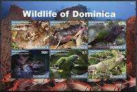 Dominica Birds on Stamps 2020 MNH Wildlife Parrots Frogs Snakes Lizards 6v M/S