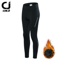 CHEJI Women's Winter Cycling Pants Fleece Padded Bike Bicycle Pants Tights Black