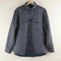 Pendleton Quilted CPO Wool Blue Grey Shirt Jacket Mens Sz M