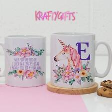 Personalizado Bonito Unicornio inicial Taza De Café Taza De Té Trabajo Divertido Regalo De Cumpleaños