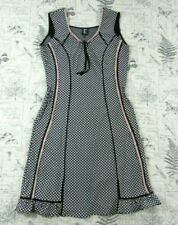 Tricot Chic Womens Sleeveless fitted black white pink knit dress ITALY 46 USA 10