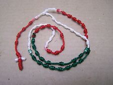 Mexican Pride Red White & Green Colored Hand Tied Rosary - Mexico