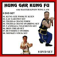 HUNG GAR KUNG FU 8 DVD SET tiger crane lau gar fist 5 animals elements shaolin