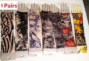 5 PAIRS Tattoo Arm Sleeves Sports Outdoor Cycling Cover Cooling Sun Protection