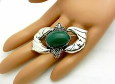 Vintage Sterling Green Moss Agate Brooch Pin