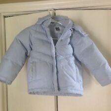 GAP KIDS Girls Light Blue Down Puffer Coat Removable Hood Size 4 Girls XS VGUC