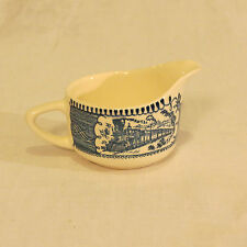 Royal China CURRIER & IVES Blue and White Steam Train Creamer