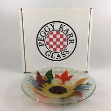 "Peggy Karr  Fused Glass Art Sunflower Salad Bowl 8.5"""