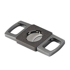 Gun Metal Cigar Cutter Guillotine with Etched Body in Gift Box 62 Ring Gauge