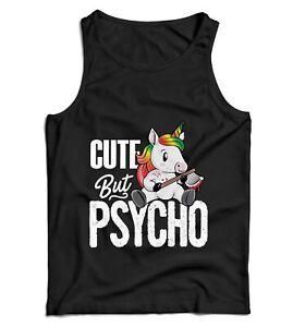 Cute But Psycho Ladies Vest Tank Top - Unicorn, Funny, Humour