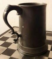 Antique James Dixon & Sons Pewter Glass Bottom 1 Pint Tankard c.1870 VGC HEAVY!