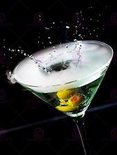 PHOTOGRAPH  OLIVE DROP SPLASH CHAMPAGNE GLASS PRINT POSTER MP3414A