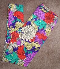 LuLaRoe TC Leggings Dahlia Print Floral Flowers Vibrant Colors!  Gorgeous!!  NEW
