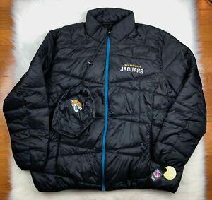 Jacksonville Jaguars NFL Winter Puffer Jacket w Bag, Black, Big & Tall Men's 5XL