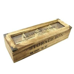 Rustic Tea Bag Box Wood General Store 4 Compartment Storage Candy Chest