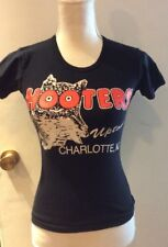 Hooters CHARLOTTE, NC Black Combed Cotton T-shirt size Small-American apparel-