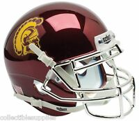 NEW USC TROJANS ALTERNATE CHROME SCHUTT AUTHENTIC MINI FOOTBALL HELMET