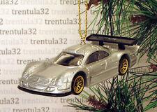 MERCEDES CLK-LM SILVER GOLD RACE CAR RACING CHRISTMAS TREE ORNAMENT XMAS