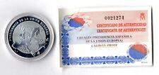 Moneda de España Presidencia española union Europea año 2002 plata. 925 proof