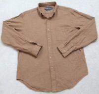Ralph Lauren Pocket Dress Shirt Long Sleeve Large Brown Cotton Men's Button Up