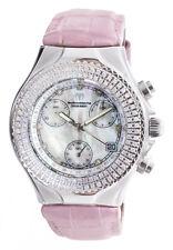 Techno marine Womens Cruise Pearl Dial Pink Alligator Strap Diamond Watch 38mm