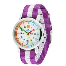 Amonev Time Teacher watch, with its signature purple and white strap
