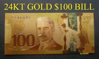 💰 Canada 100$ Banknote 24kt Gold Foil Bill Note with protector sleeve 🎁