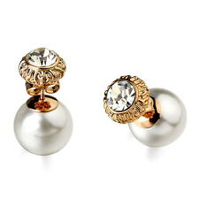 Three Way Use Rose Gold Plated Crystal White Pearl Double Sided Earring XE73
