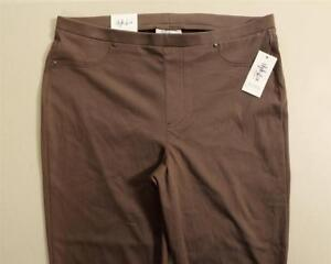 LP48 Style&co Womens Plus Brown Mid Rise Pull On Capri Leggings NWT Size 0X x 22