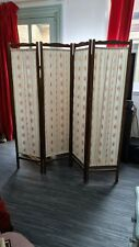 More details for antique 20s / 30s vintage 4 panel screen w/ wooden frame & flower pattern fabric