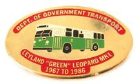 "RARE 1980s NSW DEPT TRANSPORT ""LEYLAND GREEN LEOPARD 1967-1986"" BUS LARGE BADGE"
