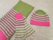 Boden Fun Knit Hat, Scarf & Gloves New in Bag, Pink Green Grey & Brown Stripes