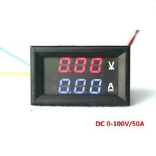 Digital Ammeter Voltmeter YB27VA DC 100V 50A 2 in 1 Volt Amp LED Dual Red Blue