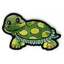 Embroidered Smiling Sweet Turtle Iron on Sew on Kids Patch