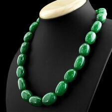 711.50 CTS EARTH MINED RICH GREEN EMERALD OVAL BEADS NECKLACE - WOMEN JEWELLERY