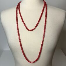 Red Square Wood Bead Necklace Long Strand
